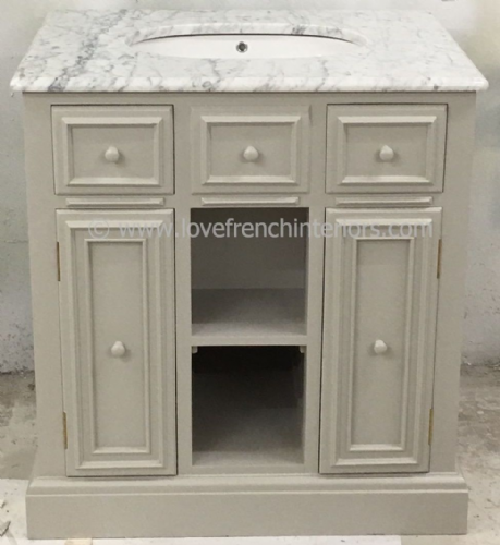 Bespoke Single Sink Vanity Unit with Open Shelf